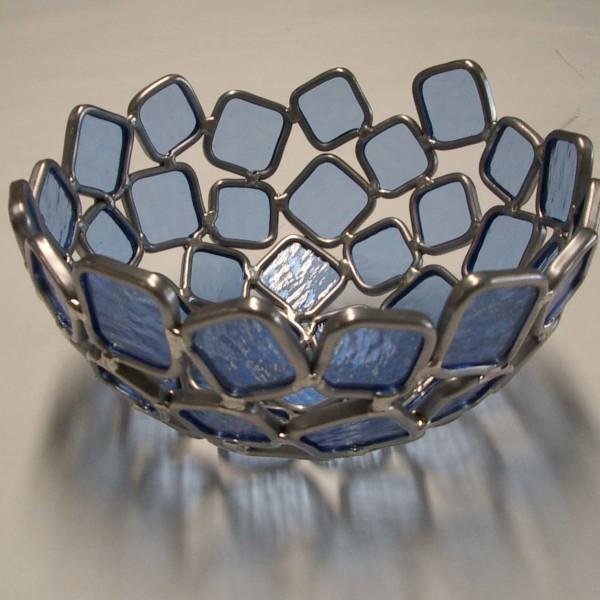 blauwe glazen waxinehouder