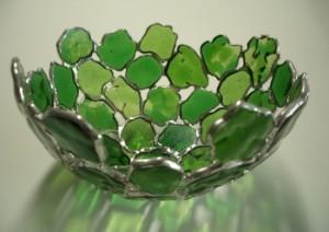 tiffany glasobject schaal gemaakt in ons glasatelier