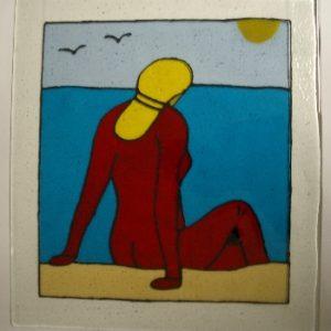 vrouw aan zee mijnglaskunst